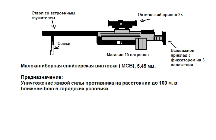 Схема винтовки малокалиберной винтовки
