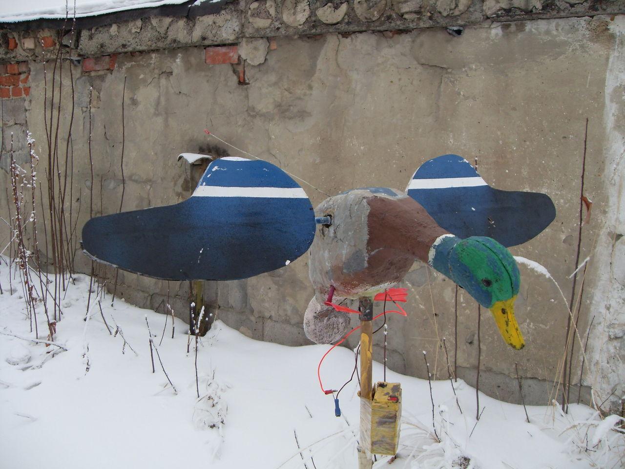Чучело утки с машущими крыльями своими руками