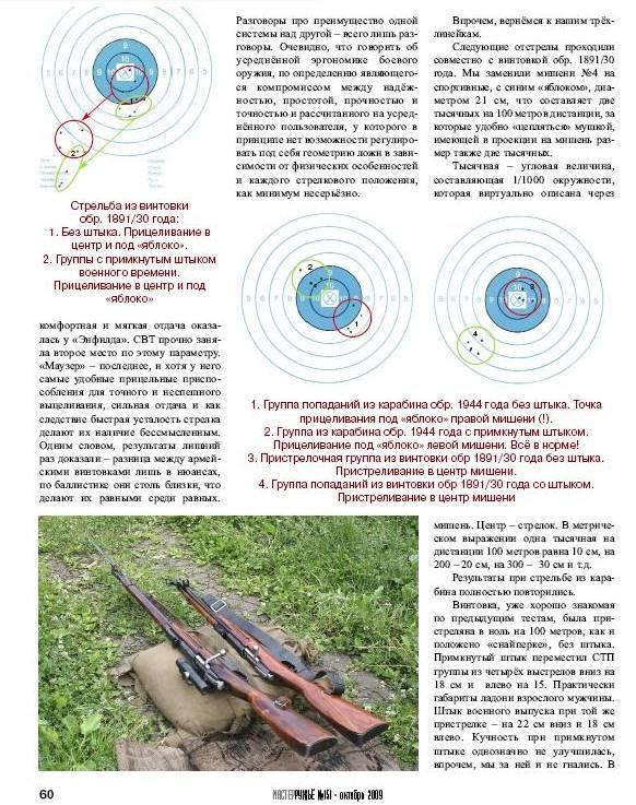 Точность стрельбы со штыком и без штыка