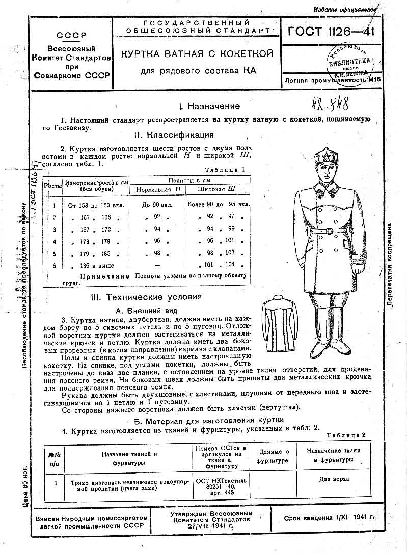выкройка гимнастерка 1943 года