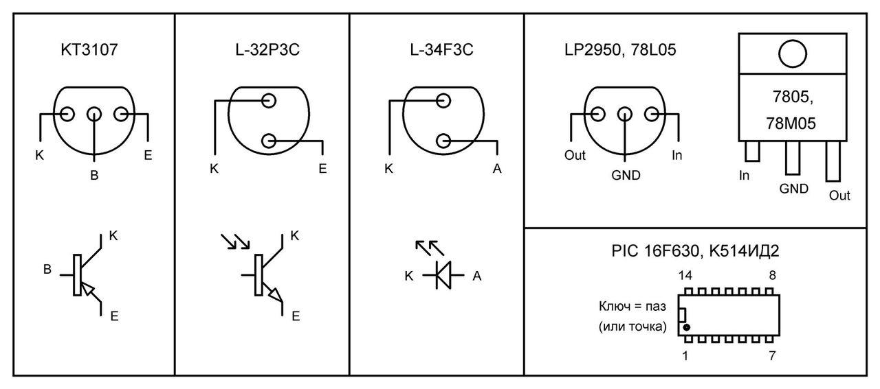 Для фототранзистора: