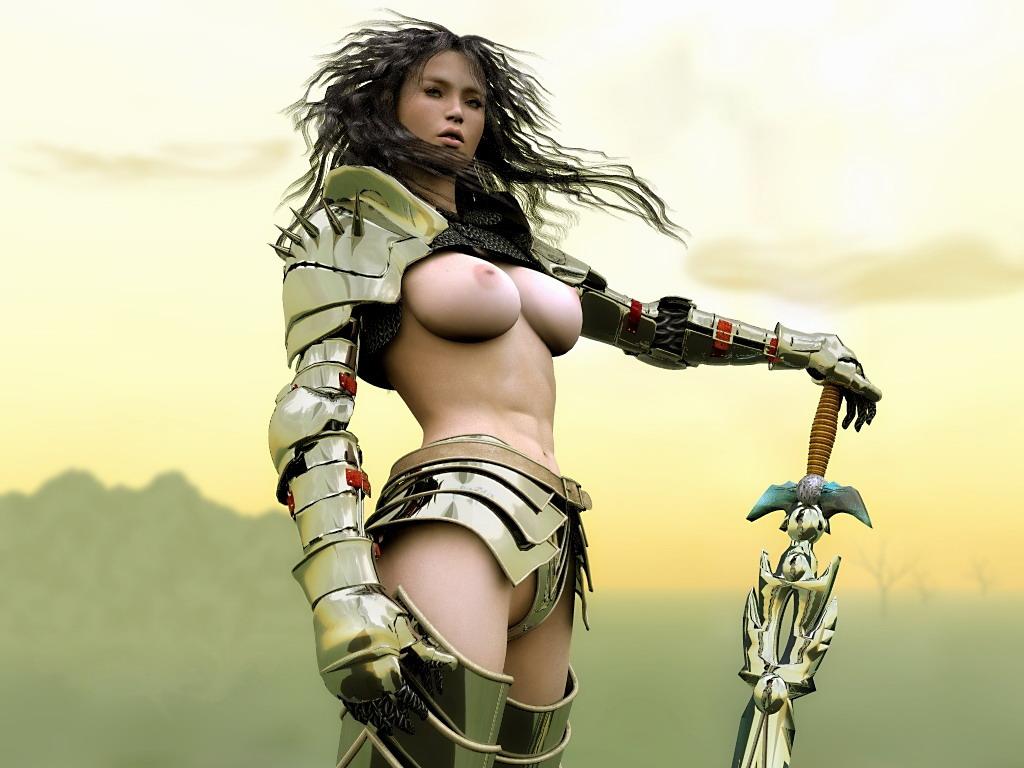 Обнажённая девушка воин