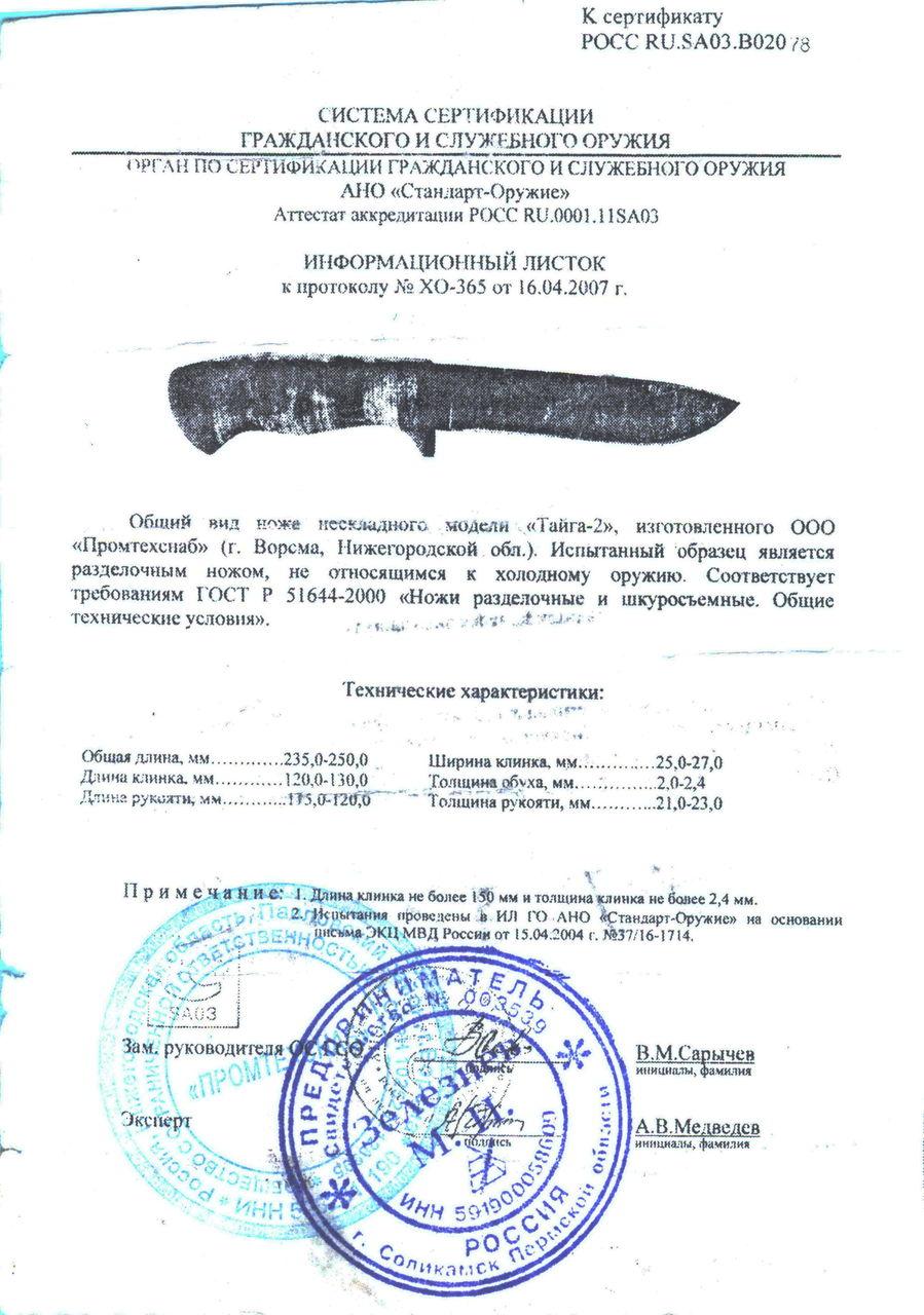 Сертификация ножей в воронеже сертификат гост 5398-79