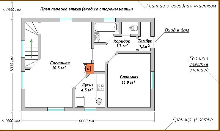 двухэтажный дом с планировкой 6х9 с газовой котельной