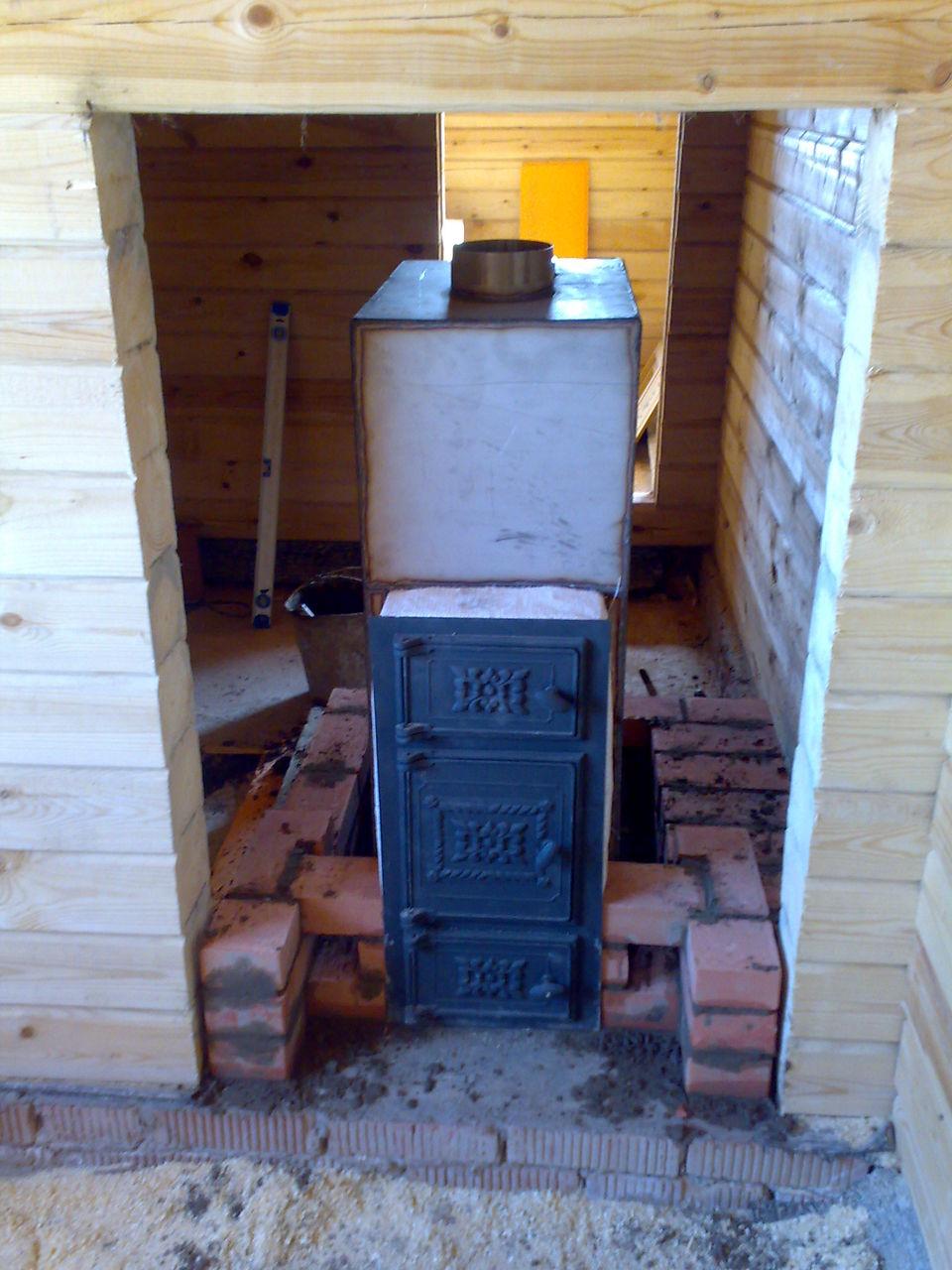 Банная печь своими руками из кирпича с регистром для воды