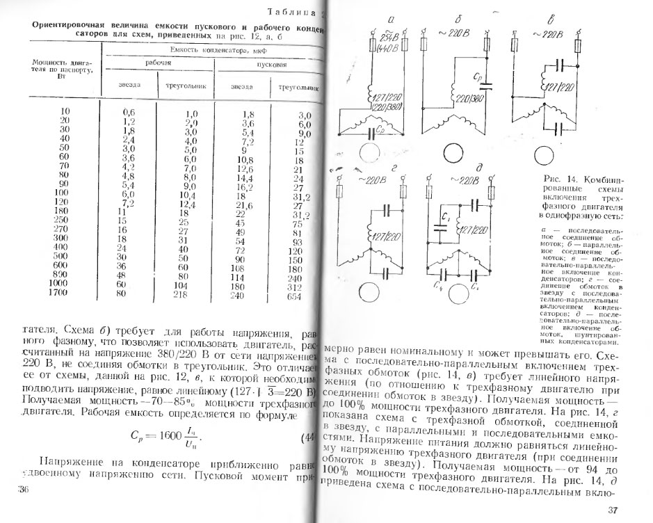 закуски емкость рабочего конденсатора для трехфазного двигателя таблица часто много