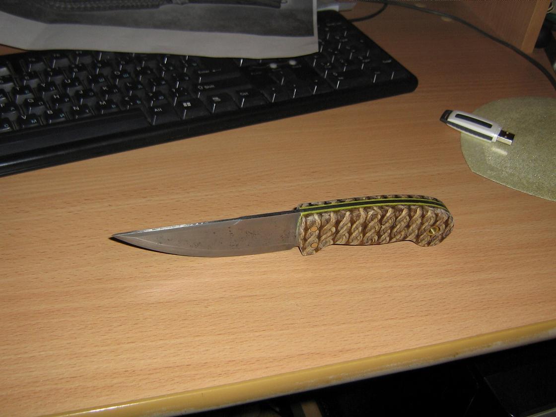 Нож из быстрореза с рукоятью из веревочной микарты (фултанг). * Популярное оружие
